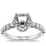 Monique Lhuillier Draping Halo Engagement Ring in Platinum